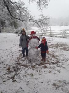 Scooter and Cheech and our cowboy snowman.